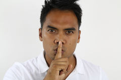 Asian man asking silence Stock Photos