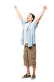 Asian man attractive happy student. Happy young Asian man attractive student celebrating royalty free stock photo