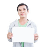 Asian Man With Blank Board Royalty Free Stock Photography