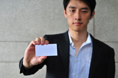 Asian Man with Blank Namecard 3 Royalty Free Stock Image