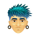 Asian man with blue hair and tunnels in ears isolated vector Royalty Free Stock Photos