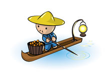 Asian Man In Boat Royalty Free Stock Images