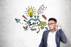 Asian man and bright idea Royalty Free Stock Image