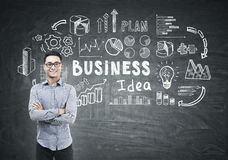 Asian man and business idea on blackboard Stock Images