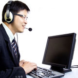 Asian man call center with phone headset Stock Photography