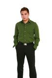 Asian man in casual clothes. Handsome adult asian male with serious expression Royalty Free Stock Photos