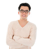 Asian man in casual wear. Front view headshot Asian man in casual wear standing isolated on white background. Asian male model Royalty Free Stock Photos