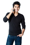 Asian man with cellphone Royalty Free Stock Photo