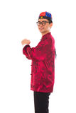 Asian man with Chinese traditional dress cheongsam and gong xi f Stock Image