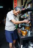 Asian man, coffee shop, private business Stock Photo