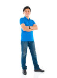 Asian man. Confident full body Asian man standing on white background stock photos