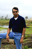 Asian man in countryside Royalty Free Stock Photography