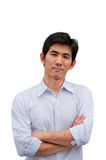 An asian man cross his arm Stock Photography