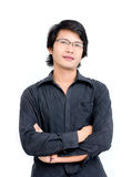 Asian man Cross Ones Arm Stock Images