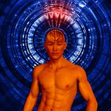 Asian man 3d figure with highlighted brain and brain waves. Asian man 3d figure with highlighted brain on digital background Stock Photography
