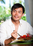 Asian Man Dining Stock Image