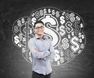 Asian man and dollar sign cloud Stock Images