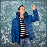 Asian Man in Down Padded Coat Royalty Free Stock Photo