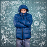 Asian Man in Down Padded Coat Royalty Free Stock Image
