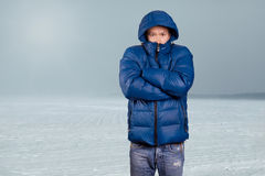 Asian Man in Down Padded Coat Royalty Free Stock Photography