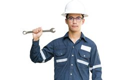 Asian man,Engineer or Technician in white helmet, glasses and blue working shirt suit holding wrench, isolated on white, mechanic royalty free stock images