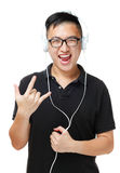 Asian man enjoy listen to music Stock Images