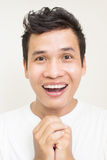 Asian Man Face Expressions. Portrait Of Asian Man Expressing Face Exciting Royalty Free Stock Images