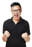 Asian man feeling excited. Isolated on white Stock Photos