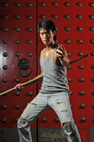 Asian Man In Fighting Action Royalty Free Stock Photography