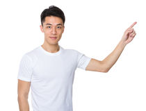 Asian man with finger point up Stock Photos