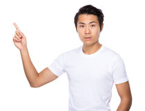Asian man with finger pointing out Royalty Free Stock Image
