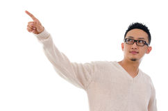 Asian man finger touching on transparent virtual screen Stock Photography