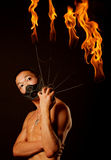 Asian man with fire show Stock Images