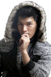 Asian man in fur and yarn texture jacket Royalty Free Stock Photo