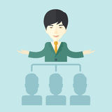 Asian man giving a buisness speech Royalty Free Stock Image