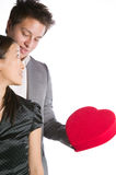 Asian man giving his partner a valentines box Stock Photography