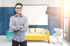 Asian man in glasses, office and blank whiteboard Stock Photography