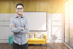 Asian man in glasses, office, whiteboard, yellow Stock Images