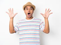 Young Asian man with hat feels shock and surprise with overly face expression. Asian man with hat feels shock and surprise with overly face expression royalty free stock photography