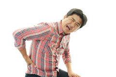 Asian man having back pain Stock Photos