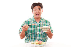 Asian man having breakfast Stock Photo