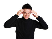 Asian man with headache Royalty Free Stock Images