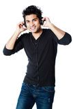 Asian man with headphones Royalty Free Stock Images