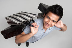 Asian man high angle shopping Royalty Free Stock Photos