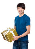 Asian Man hold with big giftbox Stock Image