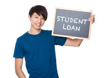 Asian man hold with blackboard and showing phrase of student loa Royalty Free Stock Photography