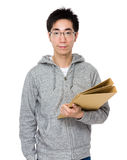 Asian man hold with folder. Isolated on white background stock photo