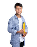 Asian man hold with folder Royalty Free Stock Images