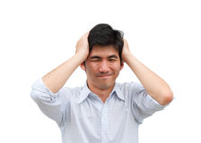 An asian man hold his hade as headache Royalty Free Stock Photography