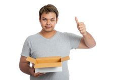 Asian man hold an open box show thumbs up Stock Image